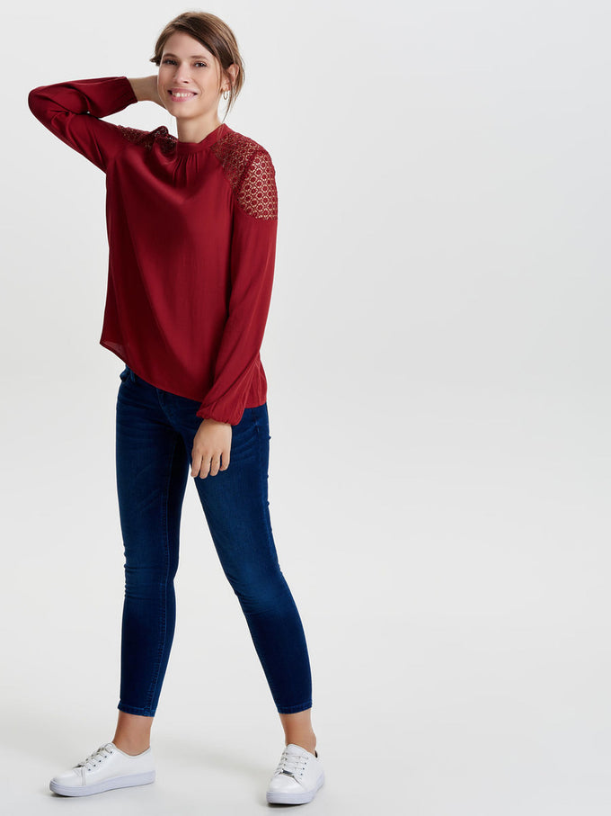 LONG SLEEVE CREPE BLOUSE TOMATO
