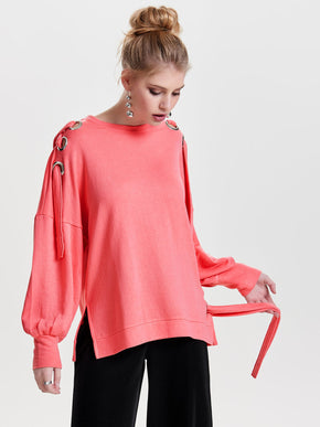OVERSIZED SWEATSHIRT WITH EYELET DETAILS