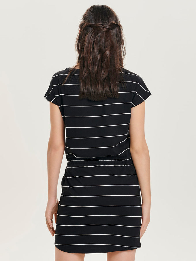 BASIC COTTON DRESS BLACK STRIPES