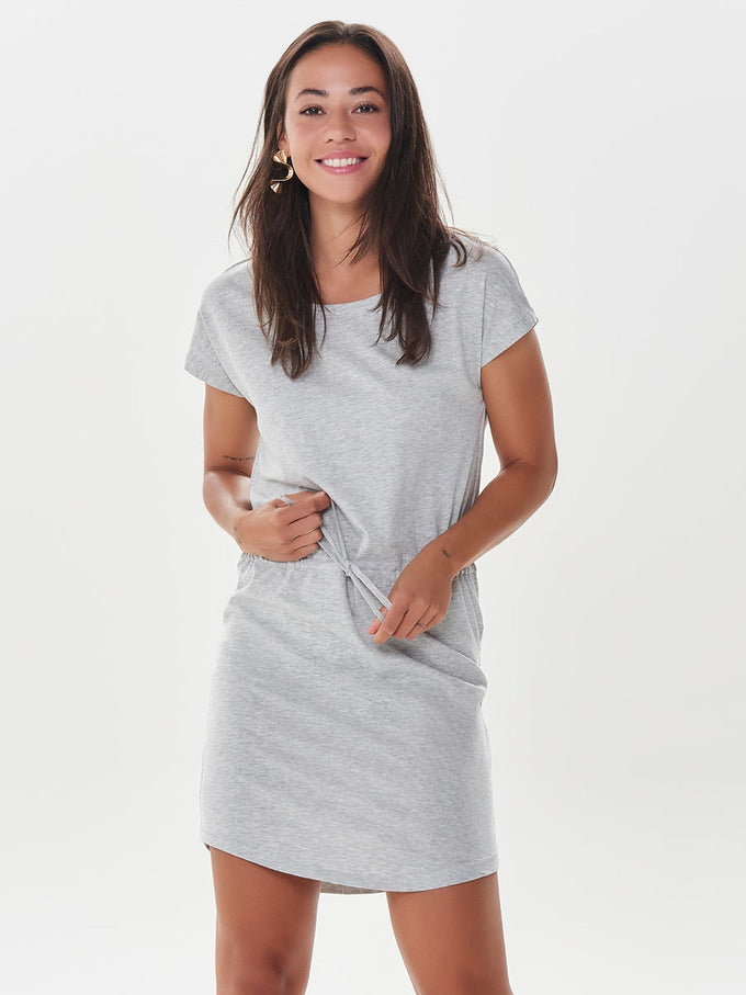 BASIC COTTON DRESS LIGHT GREY MELANGE