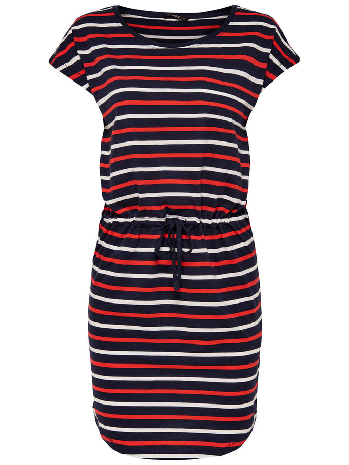 BASIC COTTON DRESS NIGHT SKY STRIPES