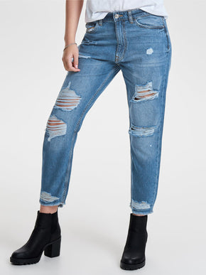 onlGURLI STRAIGHT FIT DESTROYED JEANS