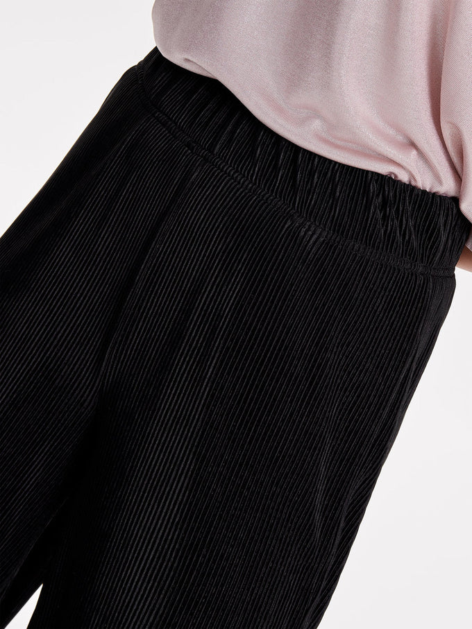 WIDE PLEATED PANTS BLACK