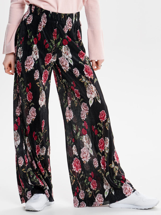 WIDE PLEATED PANTS BLACK FLOWER