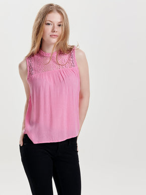 HIGH NECK CREPE BLOUSE