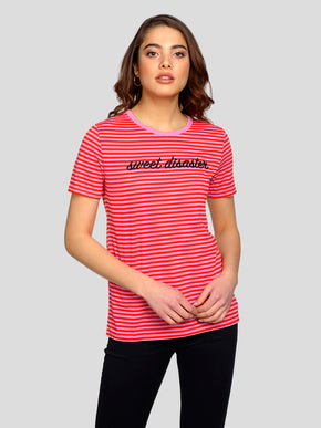 FINAL SALE – STRIPED T-SHIRT WITH EMBROIDERED TEXT