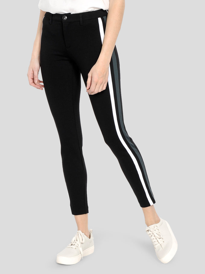 PANTS WITH COLOURFUL STRIPES BLACK