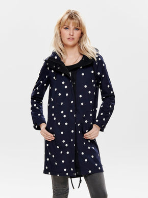 LONG CANVAS PARKA WITH POLKA DOTS
