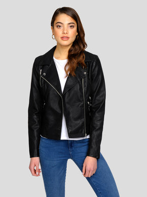CLASSIC FAUX-LEATHER MOTO JACKET