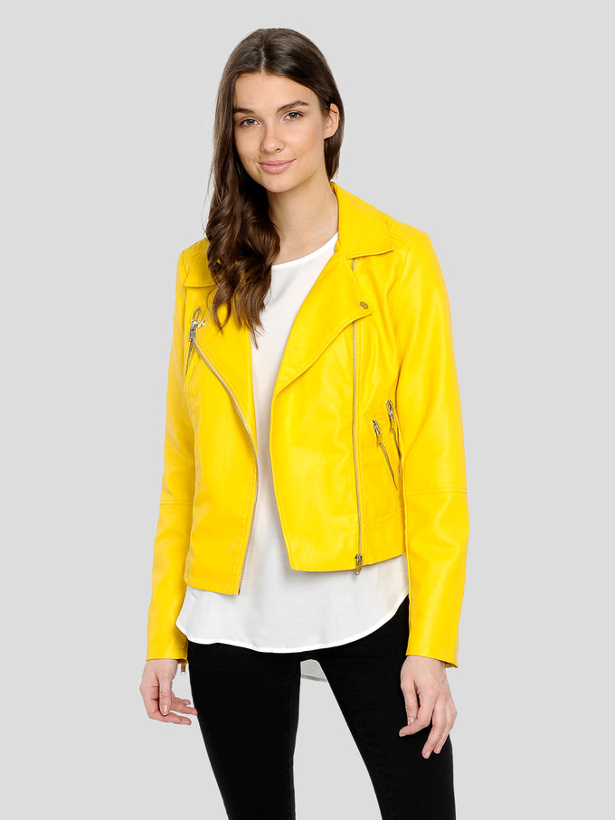 wholesale sales official site good texture VESTE MOTO CLASSIQUE EN FAUX CUIR | Jaune