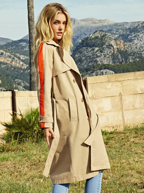 TRENCH COAT WITH ORANGE STRIPE