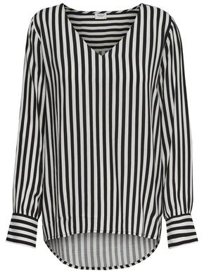 HIGH-LOW STRIPED BLOUSE
