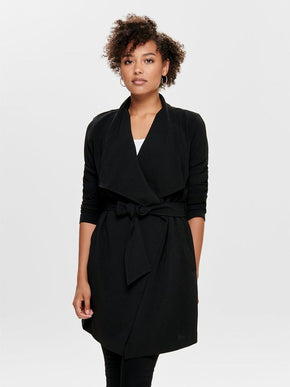 CREPE JACKET WITH A WATERFALL FRONT