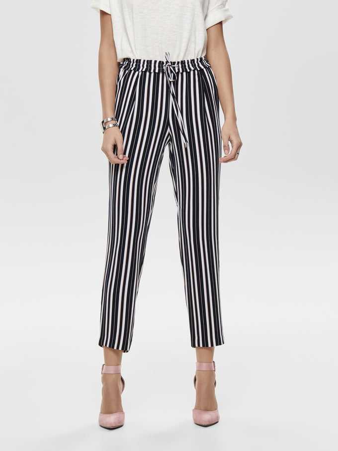 STRETCH STRIPED PANTS NIGHT SKY