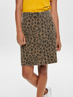 DENIM SKIRT WITH LEOPARD PRINT