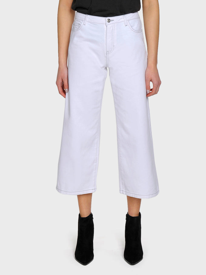 onlSONNY WIDE LEG WHITE CROPPED JEANS WHITE