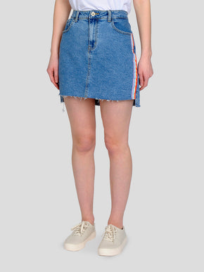 DENIM SKIRT WITH RAINBOW TAPE