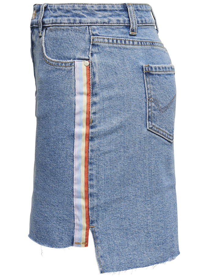 DENIM SKIRT WITH RAINBOW TAPE MEDIUM BLUE DENIM