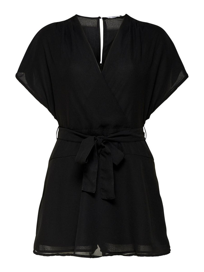RECYCLED-POLYESTER ROMPER BLACK SOLID