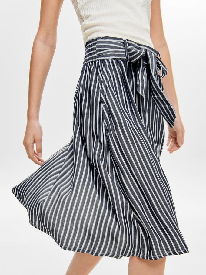 LYOCELL STRIPED SKIRT WHITE