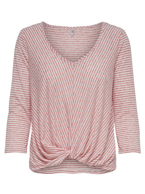 LINEN-BLEND STRIPED T-SHIRT