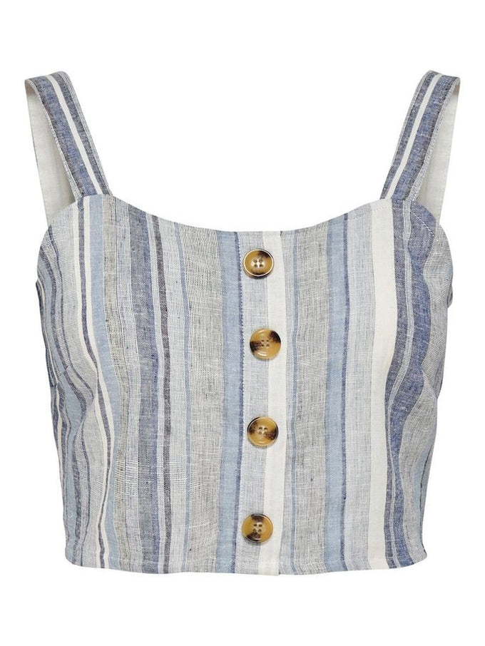 CROPPED LINEN-BLEND TOP BABY BLUE