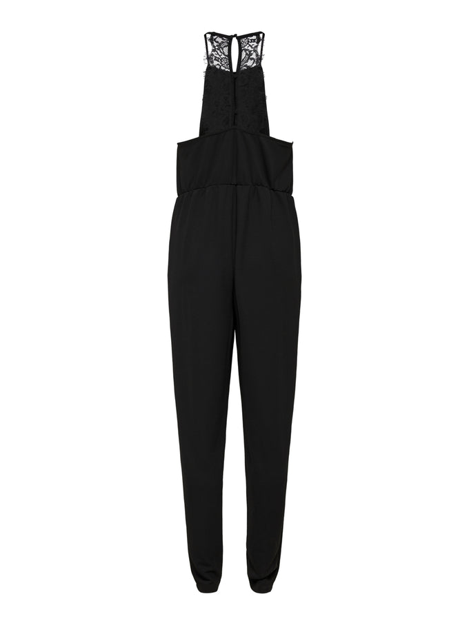 HALTER NECK CREPE JUMPSUIT BLACK