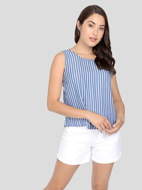 STRIPED LYOCELL BLOUSE
