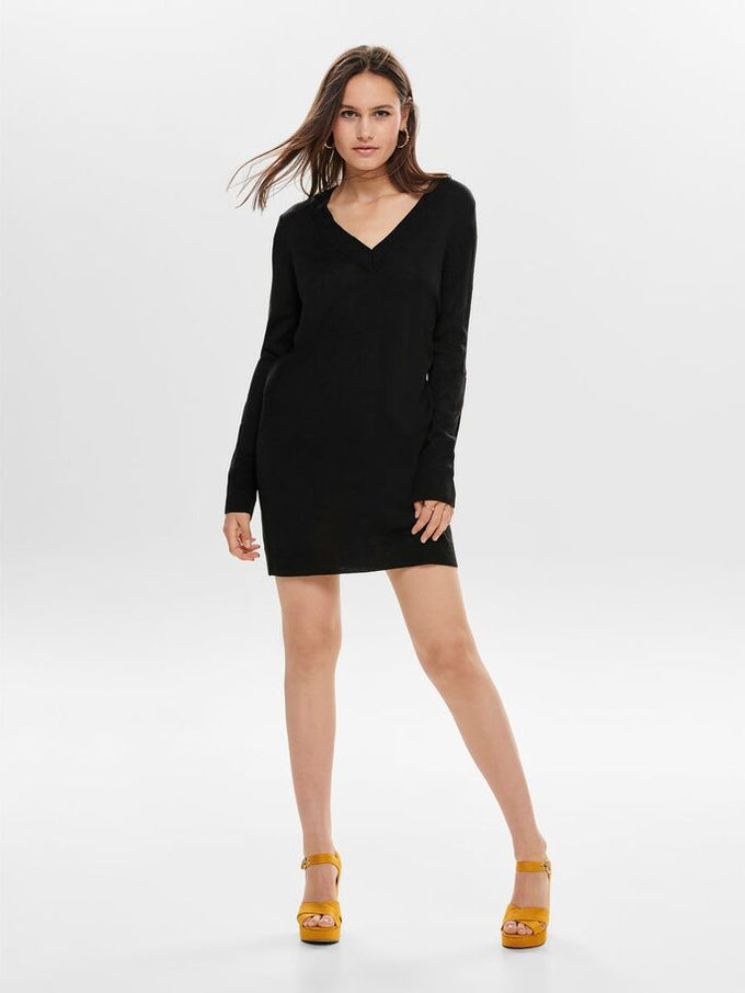 V-NECK SWEATER-DRESS BLACK