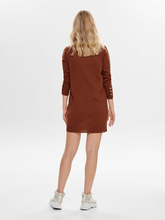 V-NECK SWEATER-DRESS SMOKED PAPRIKA