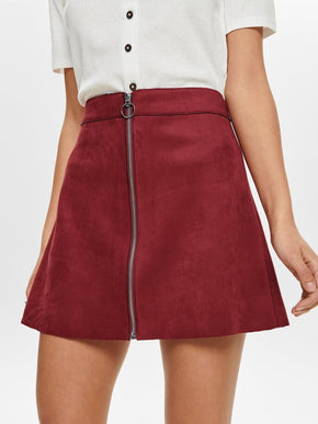 A-LINE FAUX-SUEDE SKIRT