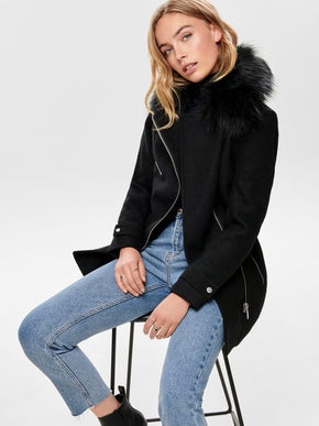 WOOL-BLEND JACKET WITH FAUX-FUR COLLAR