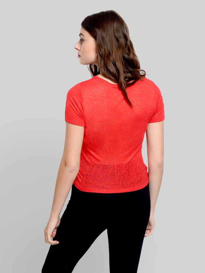 SHORT T-SHIRT WITH TWIST DETAIL CHINESE RED