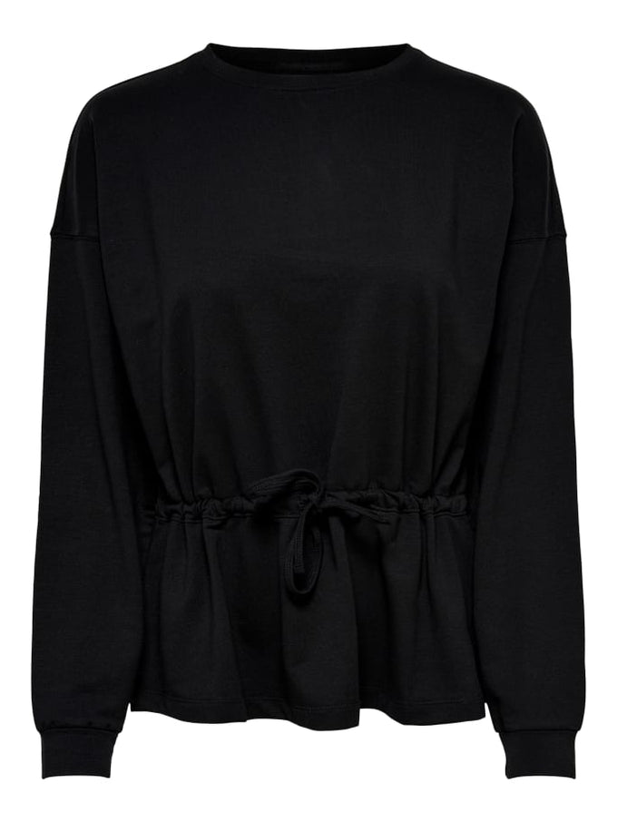 SWEATSHIRT WITH A PEPLUM WAIST BLACK