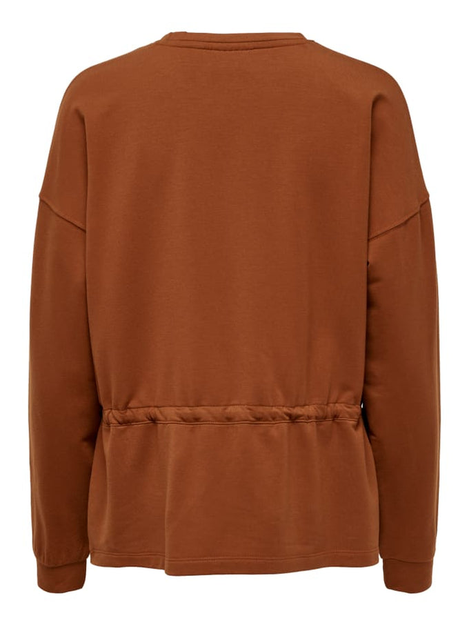 SWEATSHIRT WITH A PEPLUM WAIST GINGER BREAD