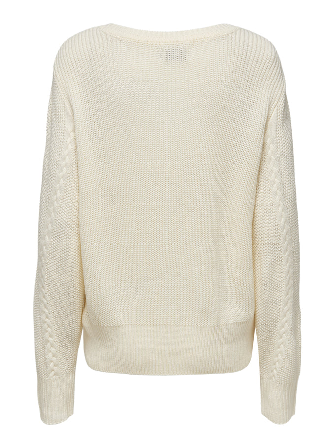 JEMMA LONG SLEEVE CABLE KNIT SWEATER CLOUD DANCER