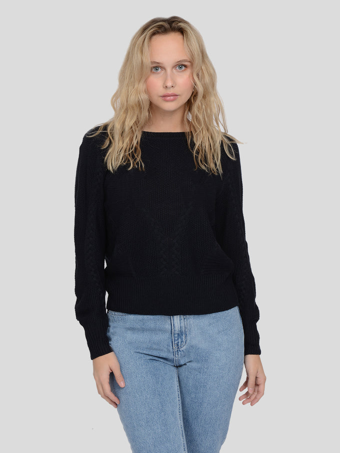 JEMMA LONG SLEEVE CABLE KNIT SWEATER NIGHT SKY