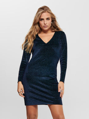 LOVABLE LONG SLEEVE GLITTER BODYCON DRESS