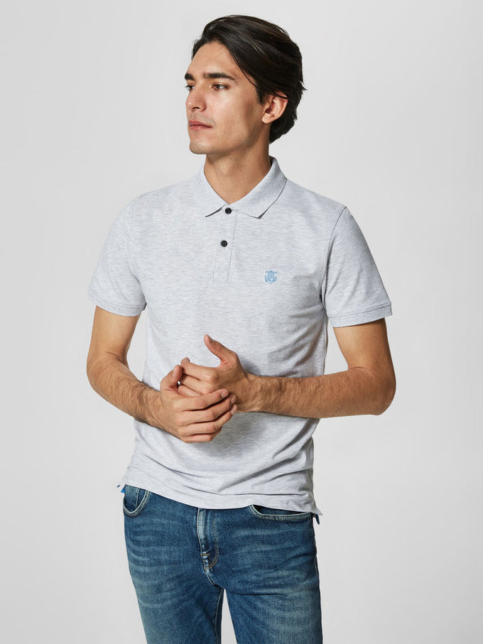 EMBROIDERED PIQUE POLO GRAY VIOLET