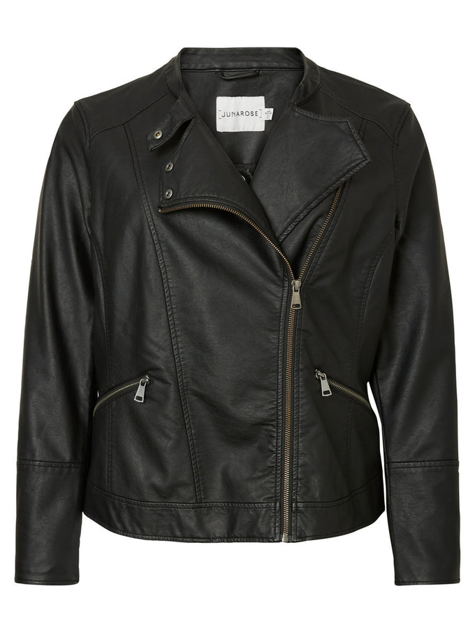 FAUX-LEATHER MOTO JACKET Black Beauty