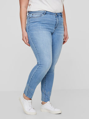 SLIM FIT ANKLE JEANS WITH EMBROIDERY DETAILS