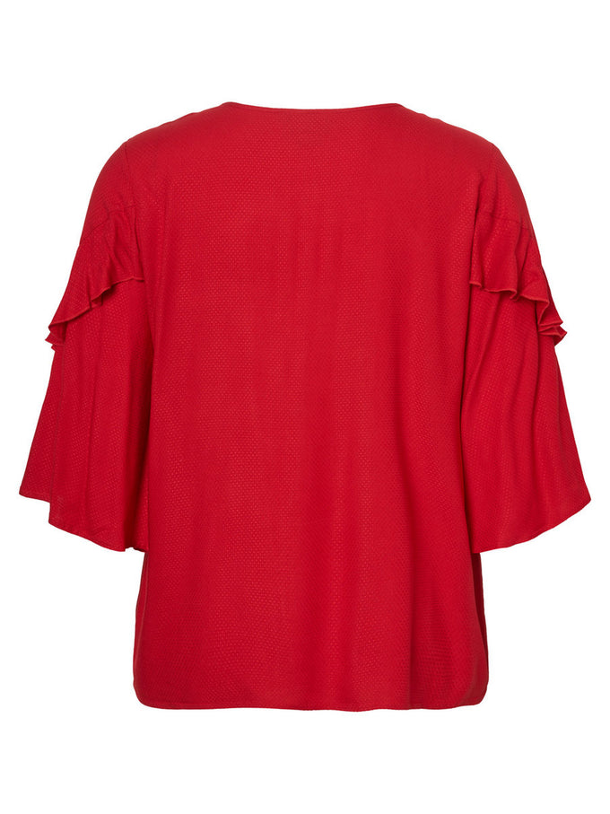 RED BLOUSE WITH FRILLS CHINESE RED