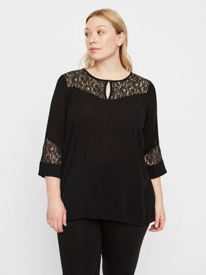3/4 SLEEVE BLOUSE WITH LACE DETAILS