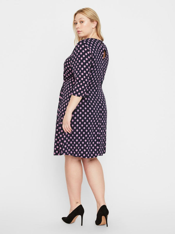 A-LINE DRESS WITH POLKA DOTS NAVY BLAZER
