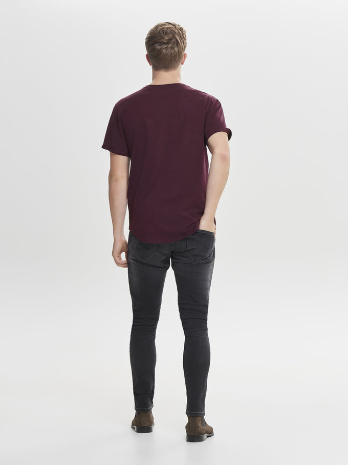 LONG FIT T-SHIRT WITH A CURVED HEMLINE WINETASTING