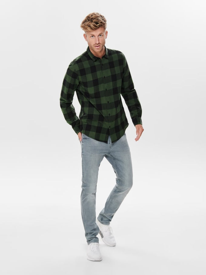 SLIM FIT CHECKERED FLANNEL SHIRT FOREST NIGHT