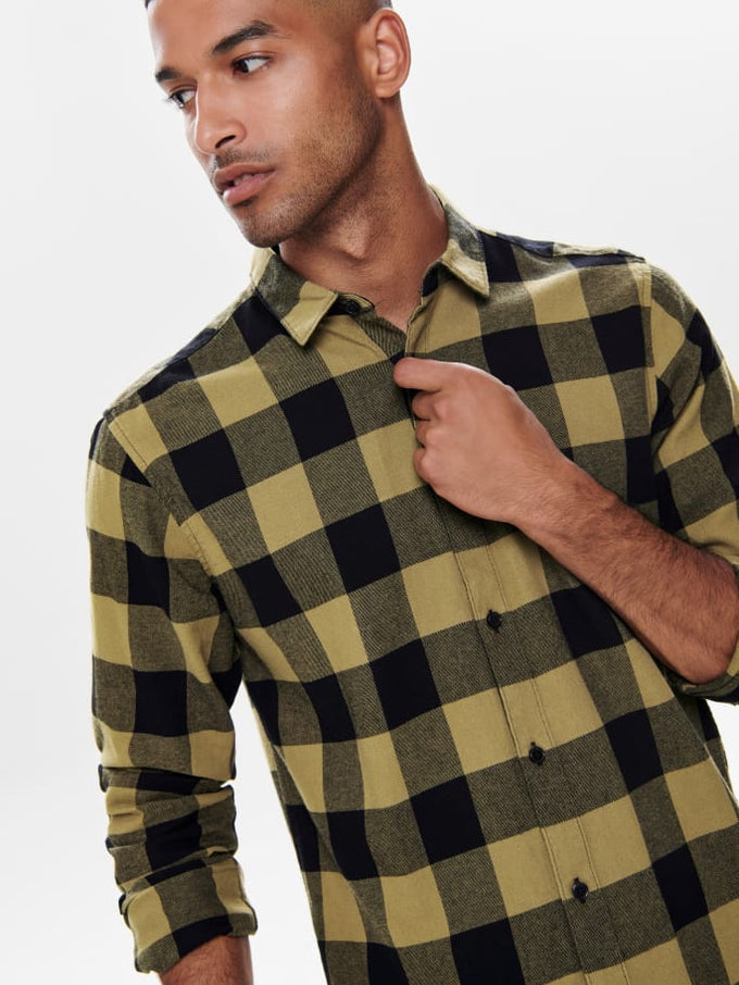 SLIM FIT CHECKERED FLANNEL SHIRT Kangaroo