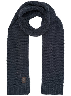 KNITTED SCARF WITH LEATHER LOGO