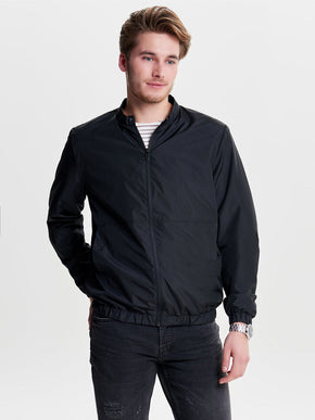 FINAL SALE - BOMBER JACKET WITH HYBRID COLLAR