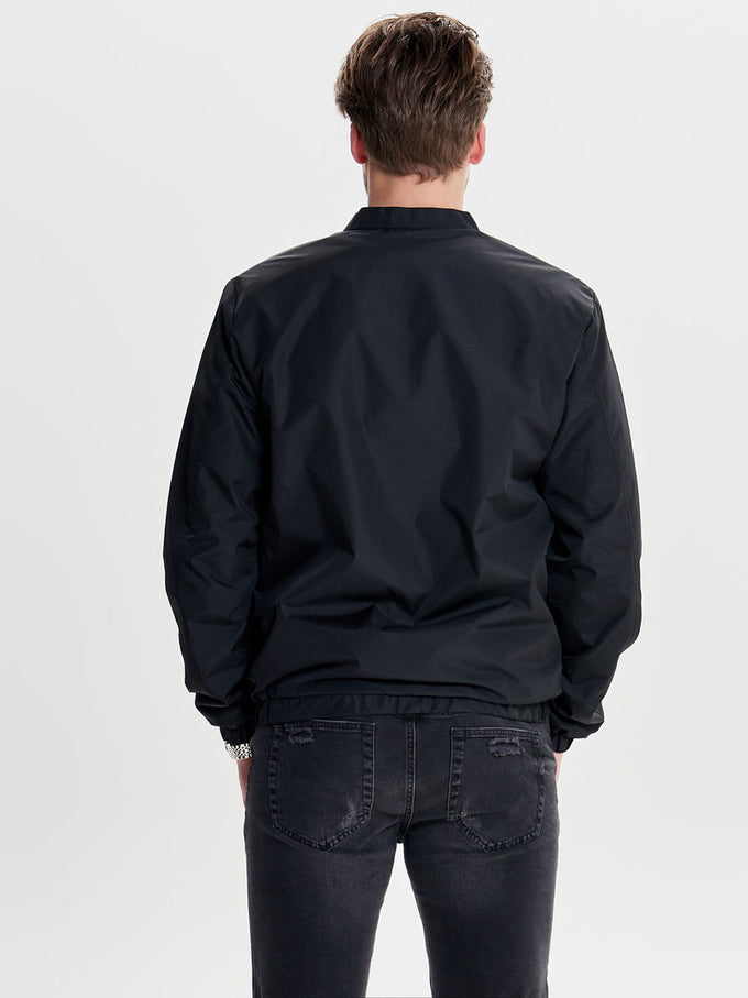 BOMBER JACKET WITH HYBRID COLLAR BLACK